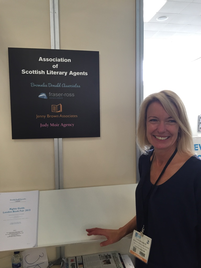 Fiona Brownlee of Brownlee Donald Associates at the collective 'table' for Scottish agents, London International Book Fair 2015. Photograph by Jenny Brown