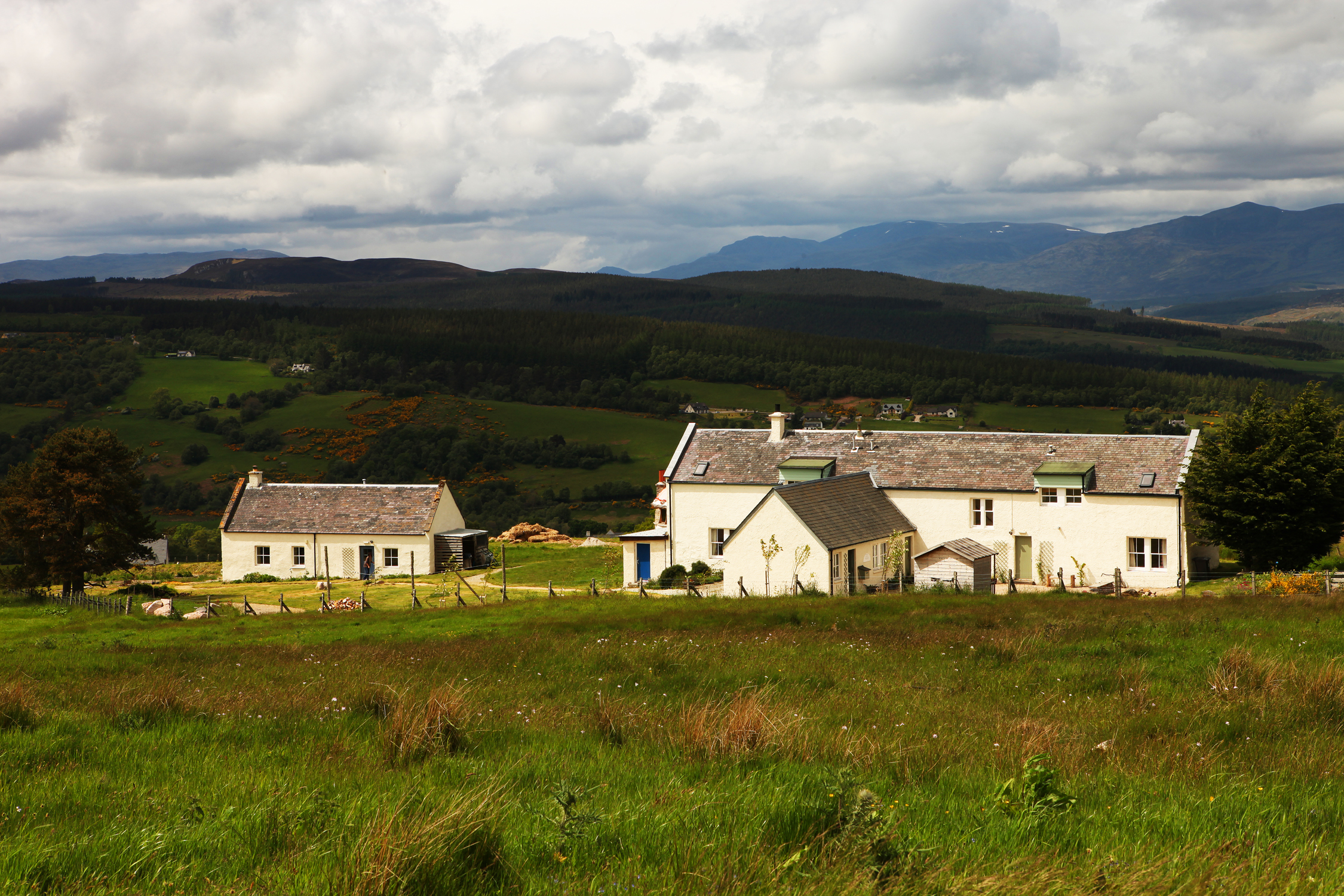 Moniack Mhor, sitting at 1000 feet, commands panoramic views of the local hills and countryside. The converted croft house and barn provides a cosy setting for writing courses and retreats throughout the year. Photographer: Nancy MacDonald