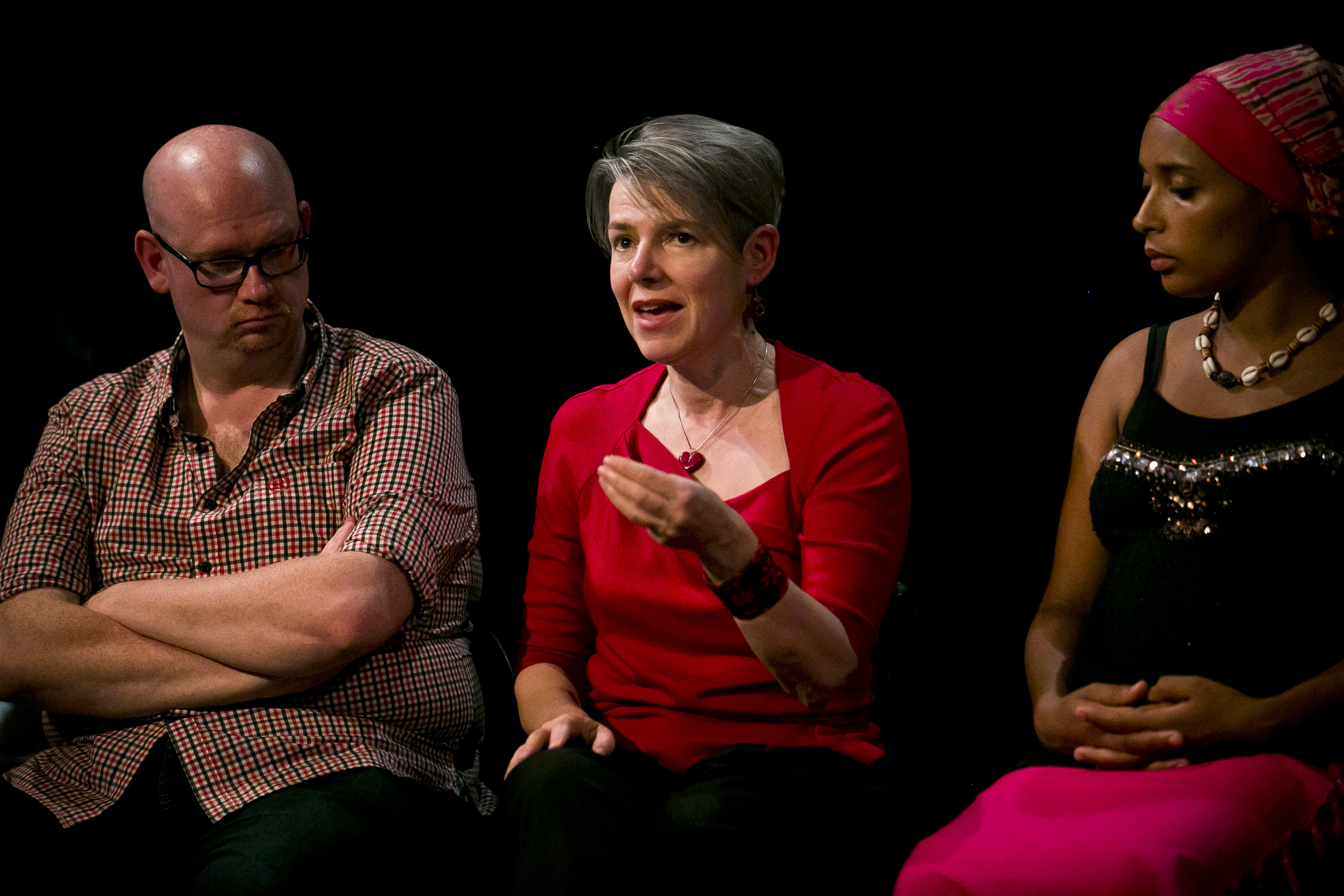 Playwrights David Leddy and Rona Munro and storyteller Mara Menzies during Playwrights' Studio's discussion Feminism is the New Black at the Traverse Theatre in August 2014. Photographer: Eoin Carey
