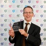 Professor Bob Harris collecting his Saltire Scottish Book of the Year Award 2014 for The Scottish Town in the Age of the Enlightenment Photographer – Graham Clark