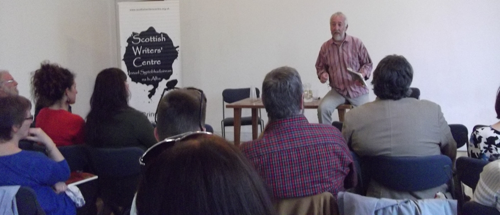 Former Scottish Writers' Centre Founding Member and Chair, Gerry Loose launches his most recent publication An Oakwoods Almanac at the Scottish Writers' Centre. Photographer: Ruth Galloway