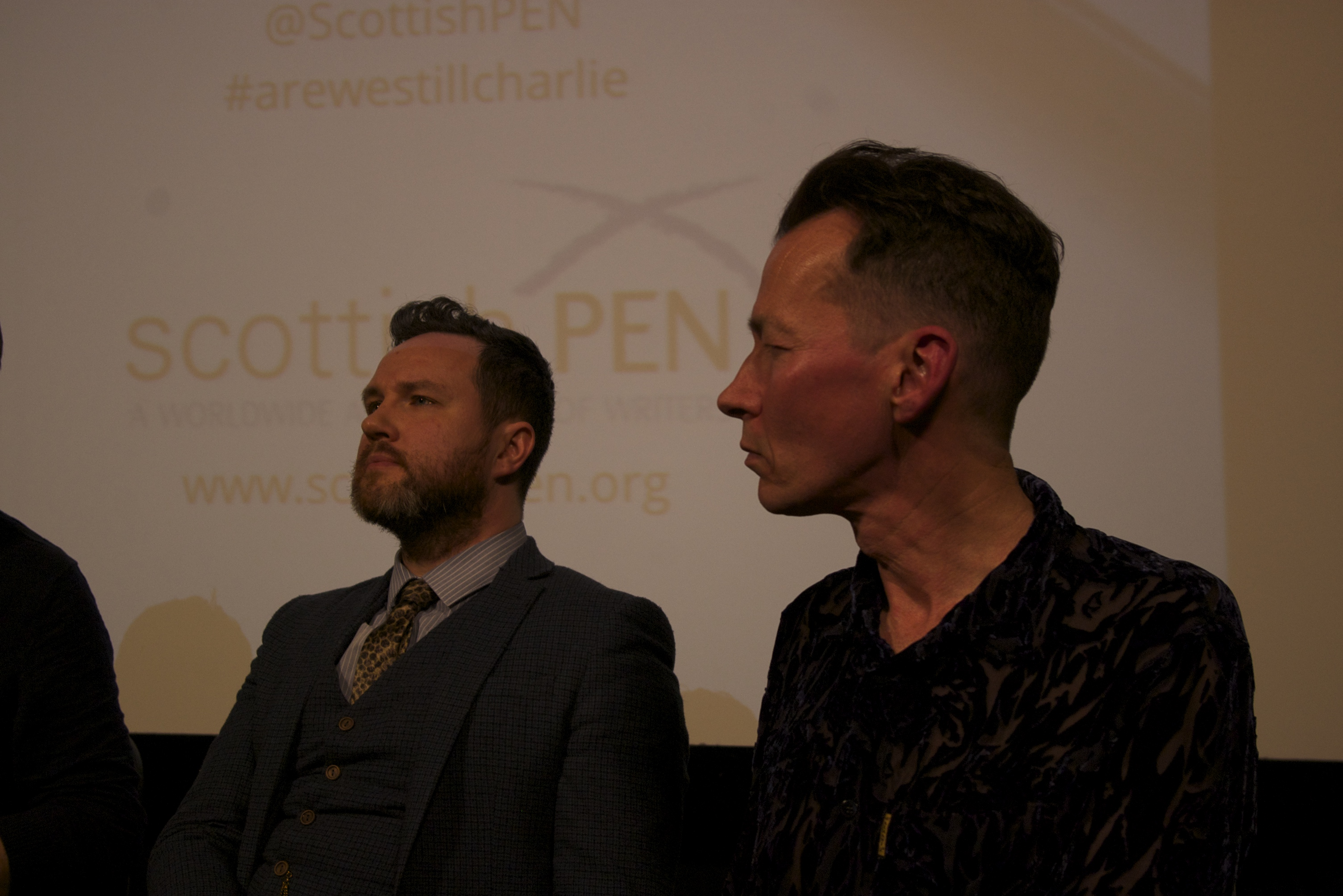 Playwright Alan Bissett and cartoonist Greg Moodie at