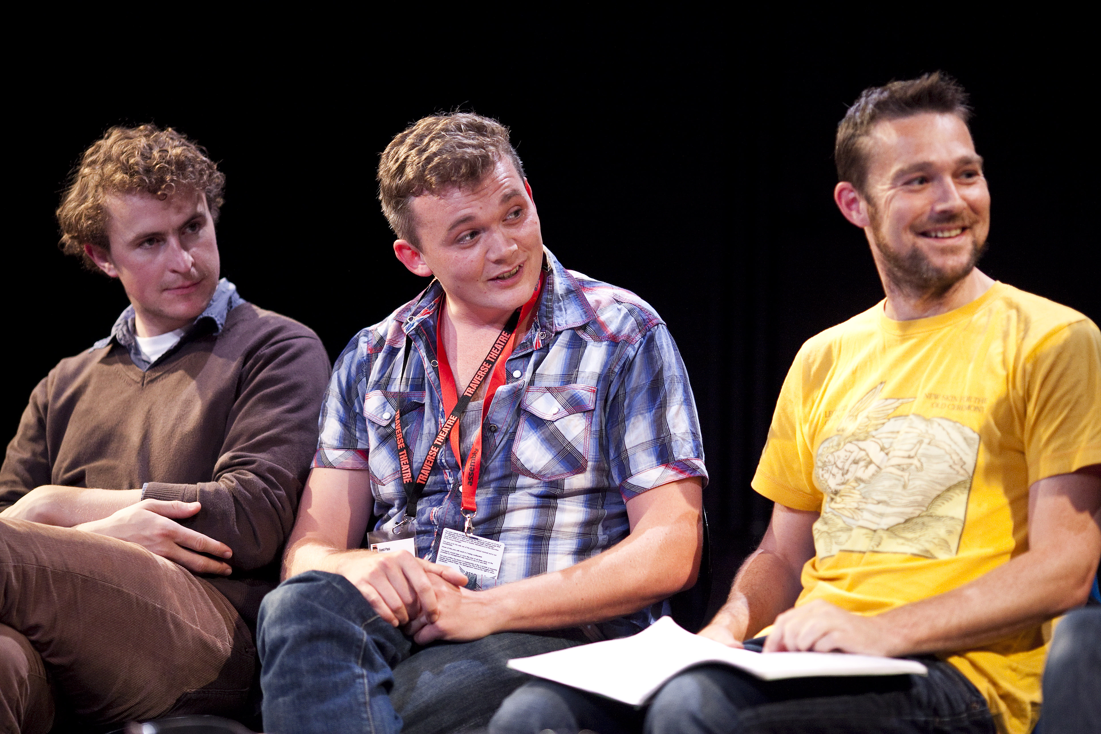 Playwrights Gary McNair and David Greig and the director Joe Douglas during Playwrights' Studio's discussion True Stories at the Traverse Theatre in August 2012. Photographer: Eoin Carey